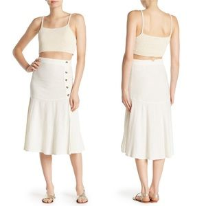 Free People Ecru Poppy Flounced Midi Skirt
